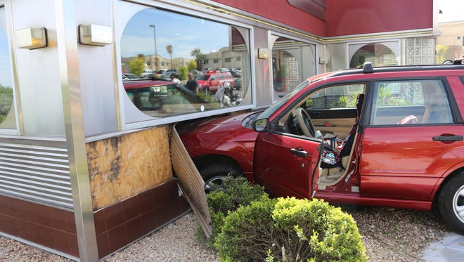 Police said a woman lost control of her vehicle and crashed into the Winger's restaurant on River Road Thursday afternoon.