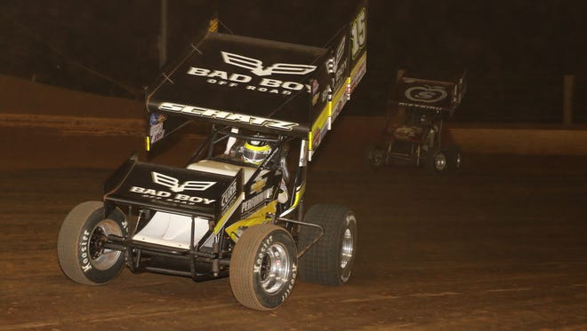 World of Outlaws star Donny Schatz holds off Danny Dietrich to win the Gettysburg Clash at Lincoln last week.