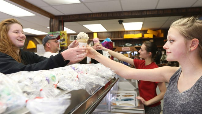 Jessica and Haily Hanson (not related) serve customers at Hawkeye Dairy.