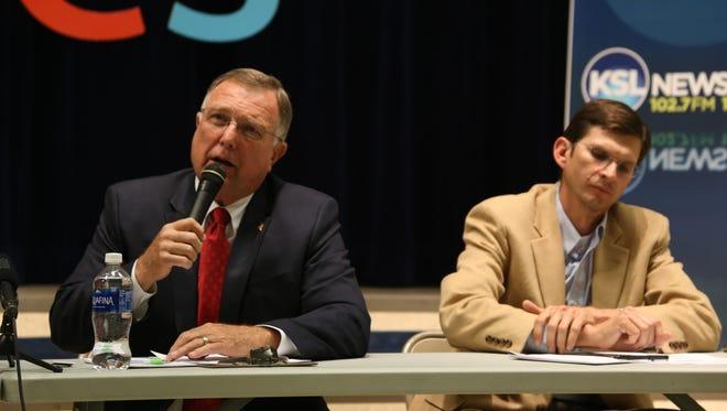 Utah State School Board, District 15, candidate Wesley Christiansen addresses attendees during the June 7, 2016 debate.