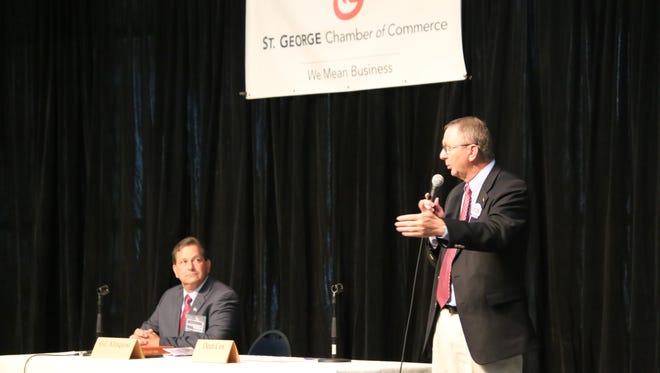 Washington County Commission candidate Dean Cox speaks during a debate with his opponent Gil Almquist at the Dixie Center in St. George June 14, 2016.
