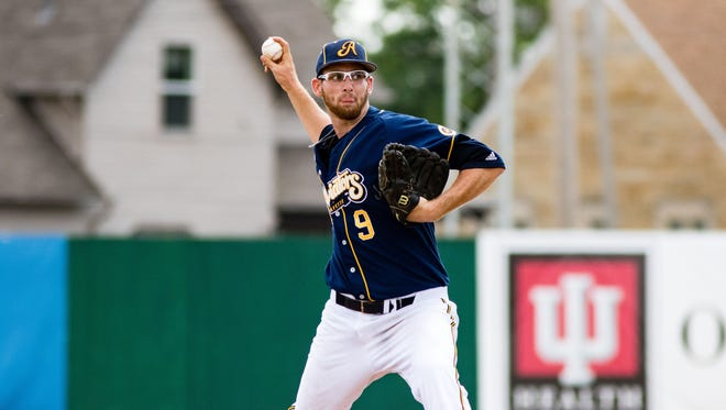 Skyler Harrison puts in a soild performance as the Lafayette Aviators win game 1of a double header 1-0 at Loeb Stadium in Lafayette. Sunday June 19