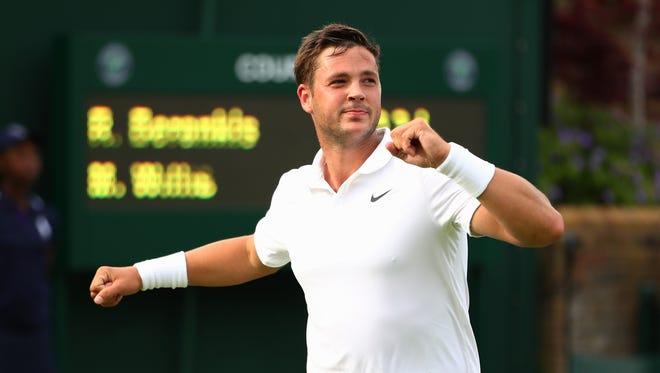 Marcus Willis, ranked No. 772, celebrates his first-round win over 54th-ranked Ricardo Berankis at Wimbledon on Monday.