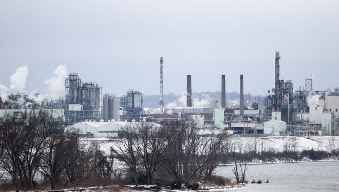 DuPont's Washington Works plant on the banks of the Ohio River, six miles upstream from Parkersburg, West Virginia, is shown on Jan. 26. The DuPont chemical company acted with malice by dumping chemical-tainted water from its West Virginia plant into the Ohio River.