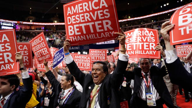 California delegates cheer during the third day session of the Republican National Convention in Cleveland, on July 20, 2016.