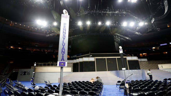 The marker for the state of Pennsylvania is seen as setup continues before the Democratic National Convention, Saturday, July 23, 2016 in Philadelphia. (AP Photo/Alex Brandon)