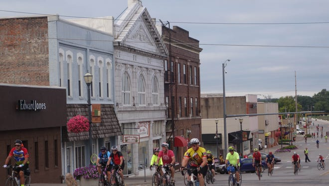RAGBRAI riders roll out of Ottumwa Friday, July 29, 2016.
