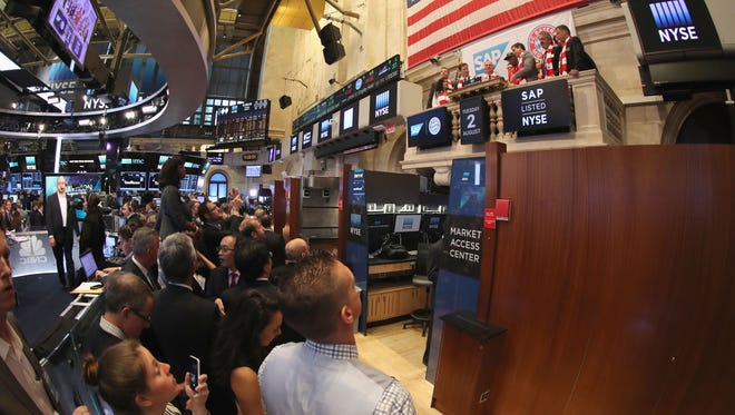 Action on the floor of the New York Stock Exchange on August 2, 2016.  (Photo by Alexandra Beier/Bongarts/Getty Images)