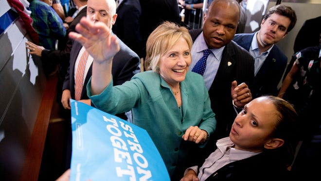 Democratic presidential candidate Hillary Clinton greets members of the audience after speaking at a rally at International Brotherhood of Electrical Workers Local 357 Hall, in Las Vegas, Thursday, Aug. 4, 2016.