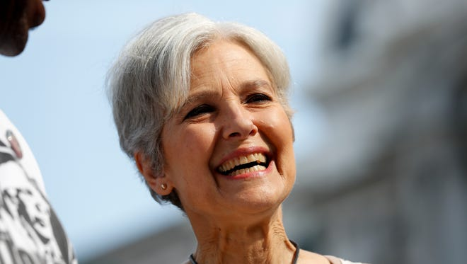 Dr. Jill Stein, Green Party presidential nominee, arrives at a rally in Philadelphia,  July 27, 2016, during the third day of the Democratic National Convention. (AP Photo/Alex Brandon)