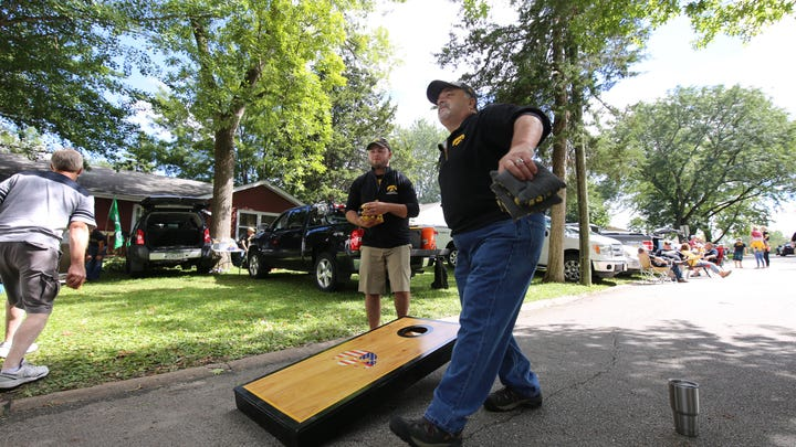 Jarred Eggers, of Iowa city (left) and Terry Zimmerman,