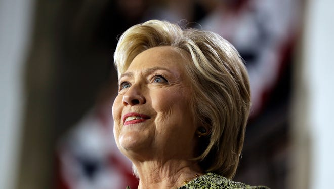 Hillary Clinton speaks during a campaign stop at Temple University in Philadelphia.