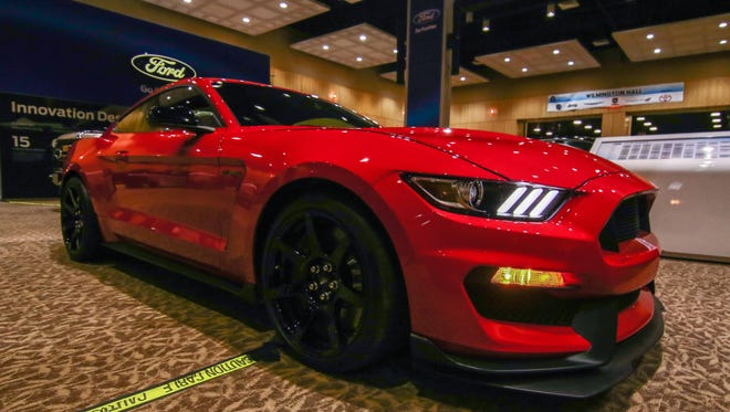 A 2016 Shelby GT 350 Mustang on display during the 10th annual Delaware Auto Show at The Chase Center.