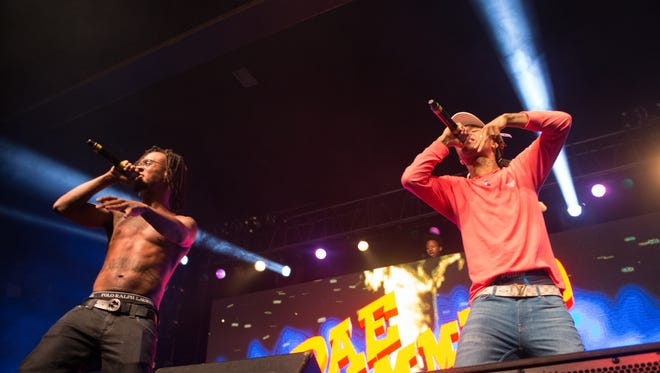 "Atlanta-based rap duo Rae Sremmurd, featuring brothers Aaquil ""Slim Jxmmi"" Brown (left) and Khalif ""Swae Lee"" Brown, played a sold-out show at the Rave Friday."