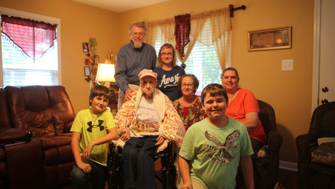 Margaret Davis celebrates her 100th birthday Tuesday afternoon with friends and family.