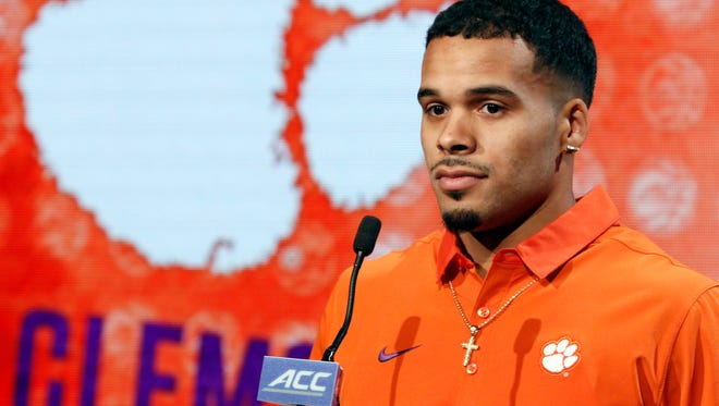 Clemson NCAA college basketball player Avry Holmes answers a question during the Atlantic Coast Conference media day in Charlotte, N.C., Wednesday, Oct., 26, 2016. (AP Photo/Bob Leverone)