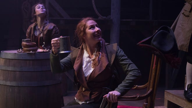 """Mary Read (Rae Elizabeth Pare) and Anne Bonny (Alicia Rice) appear in a scene from Theatre RED's """"Bonny Anne Bonny."""""""