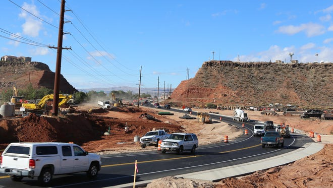 Traffic steers around an ongoing construction project along Red Hills Parkway in St. George on Monday, Oct. 31, 2016. A sales tax increase is proposed on Washington County residents' election ballots this year to help fund transportation projects and maintenance.