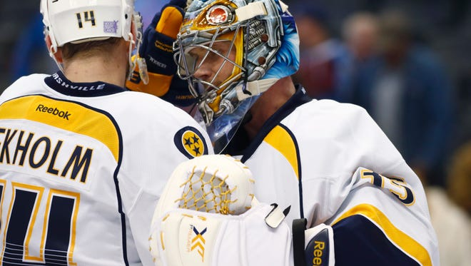 Predators goaltender Pekka Rinne made 28 saves in a 5-1 win against the Avalanche on Tuesday.