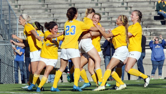 South Dakota State University versus Oral Roberts during the 2016 Summit League Women's Soccer Championship game at Dacotah Field in Fargo, N.D. on Saturday, November 5, 2016. Photo by Carrie Snyder