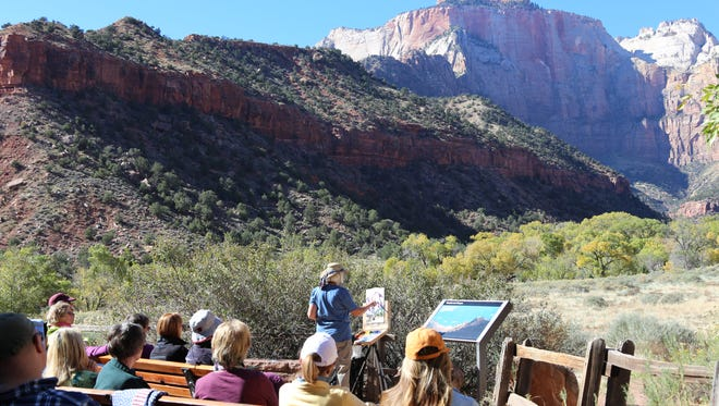 Artists from Southern Utah and afar give demonstrations at the 8th annual Zion Plein Air Invitational at the Human History Museum.