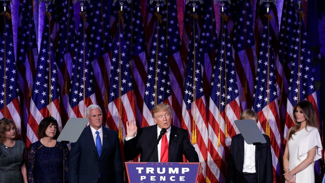 President-elect Donald Trump gives his acceptance speech during his election night rally early Wednesday morning.