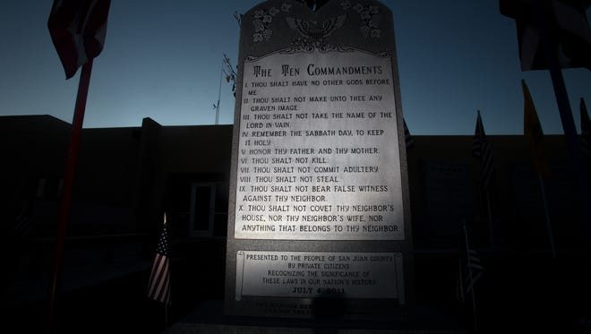 The Ten Commandments monument outside Bloomfield City Hall is pictured on Thursday.