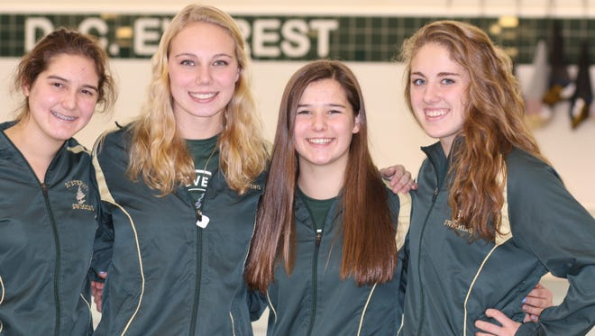 Members of the D,C Everest 200 medley relay team will compete at the WIAA state girls swim meet after setting a program record in the event last weekend Team members are Emma Van Ermen, left, Riyah Rudeen, Madalyn Peterson and Jordan Tatro