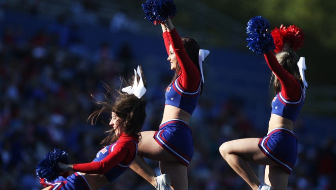 Cheerleaders are held aloft as they encourage Louisiana Tech fans to cheer on the Bulldogs as they host the University of Texas at San Antonio on Saturday, Nov. 12, 2016. The Bulldogs won 63-35.