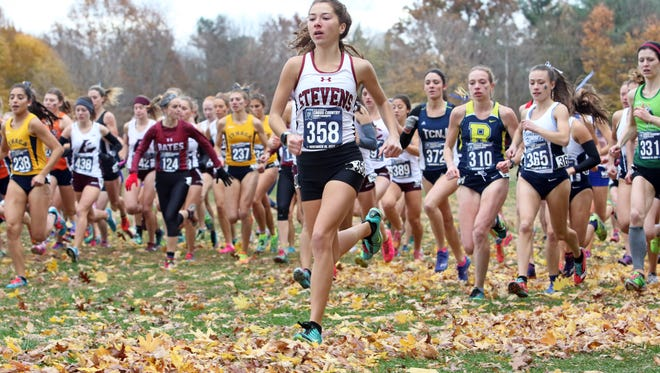 Amy Regan taking the lead at the Division III cross country championship.