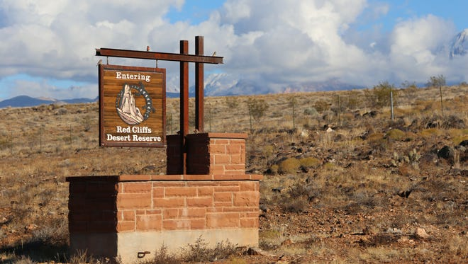 A sign greets visitors to the Red Cliffs Desert Reserve in Southern Utah.