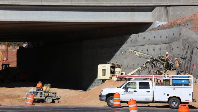 Crews work on a new underpass at Interstate 15 in St. George.