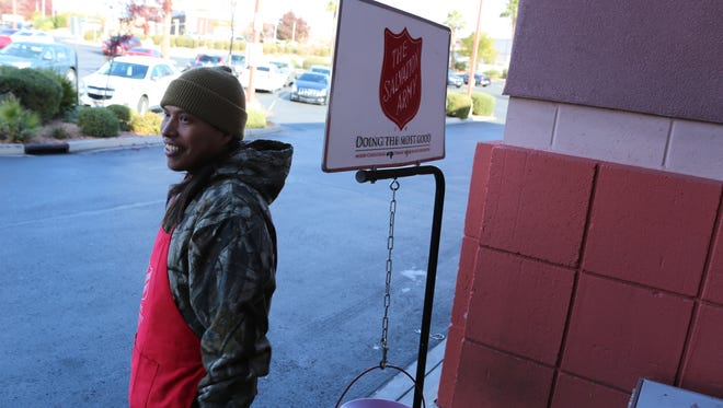 Tyler Goodman collects holiday-season donations for the Salvation Army in front of the Albertsons of St. George on Friday, Dec. 9, 2016. Goodman, 28, recently moved into his own home after weeks of living in a shelter at the SwitchPoint Community Resource Center. He said finding affordable rental space can difficult in the St. George area currently, especially with problems like a limited income, poor credit or a criminal record.