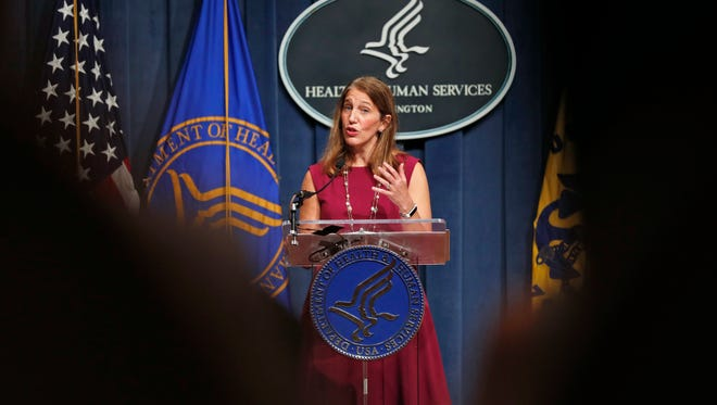 Health and Human Services Secretary Sylvia Burwell speaks during an October news conference in Washington.