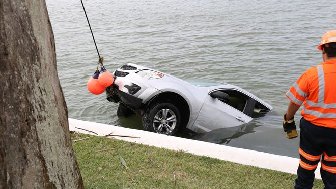 The Corpus Christi Police Department's dive team recovered a vehicle driven into the water Friday, Dec. 16, 2016.