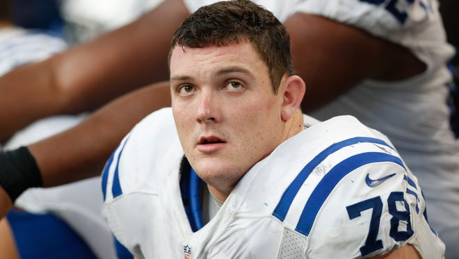 Indianapolis Colts center Ryan Kelly watches from the sidelines during the second half of an NFL football game against the Minnesota Vikings Sunday, Dec. 18, 2016, in Minneapolis. (AP Photo/Charlie Neibergall)