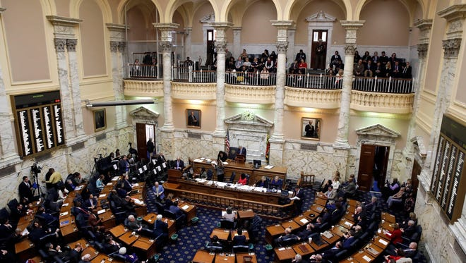Members of Maryland's House of Delegates meet in the House chamber in Annapolis, Md., Wednesday, Jan. 11, 2017, the first day of the 2017 legislative session.