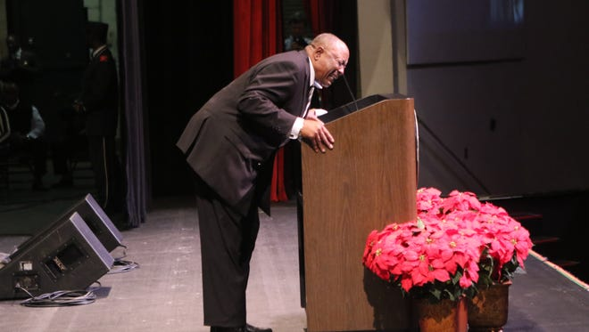 "Walter Jackson recites the ""I Have a Dream"" speech during the 38th Annual Dr. Martin Luther King Jr. Birthday Salute at the W.L. ""Jack"" Howard Theater on January 12, 2016. This will be the last year Jackson recites the speech at the event. He was awarded a Certificate of Appreciation at the event."