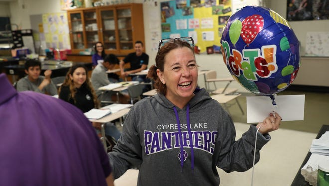 31 teachers in Lee County got a surprise from the Foundation for the Lee County Schools on Friday as Golden Apple nominations were handed out. The News-Press stopped by Cypress Lake High School and Orangewood Elementary School as they were handed out.