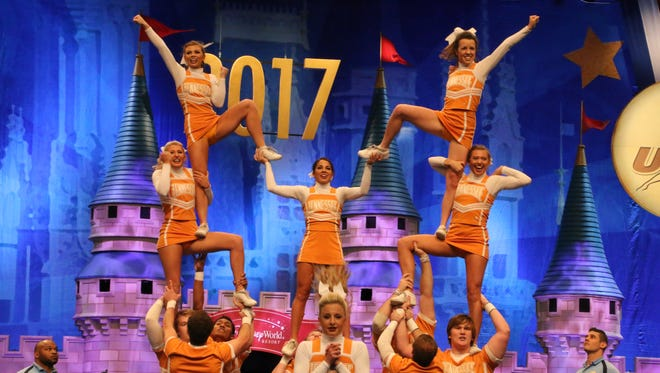 Tennessee Cheerleaders perform their routine at the Universal Cheerleaders Association's College National Championships in Orlando, Fla., on the weekend of Jan. 13-15.