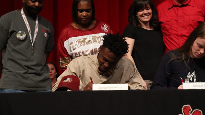North Fort Myers had their signing day in the auditorium on Wednesday.  Athletes that signed are Zaquandre White, Florida State University, football, Lexi Graber, Gymnastics, University of Alabama Summer Ackerson, Softball, Florida SouthWestern Shelby Coyne, Softball, Pasco-Hernando State Mackenzie Peterson, Softball, Florida SouthWestern Kayla Easterly, Track and field, Florida State University Mattie Booth, Volleyball, Florida College and Kendal Davis, Soccer, Keiser University.