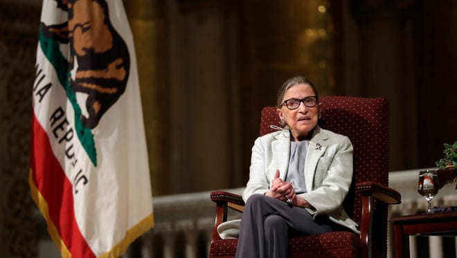 Ruth Bader Ginsburg speaks during a visit to Stanford University on Monday.