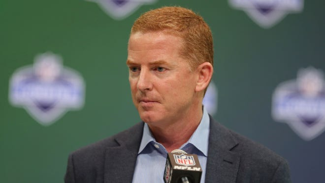 Dallas Cowboys coach Jason Garrett speaks to the media during the 2017 NFL Combine at the Indiana Convention Center.