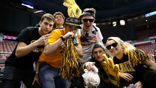 Mar 7, 2017; Detroit, MI, USA; Milwaukee Panthers fans get excited before the Horizon League Conference Tournament championship game against the Northern Kentucky Norse at Joe Louis Arena. Mandatory Credit: Raj Mehta-USA TODAY Sports
