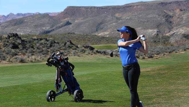 Golfers compete in the Region 9 opener at Sky Mountain Tuesday, March 7, 2017. Desert Hills won the team event and Snow Canyon's Lexi Hamel won medalist honors.