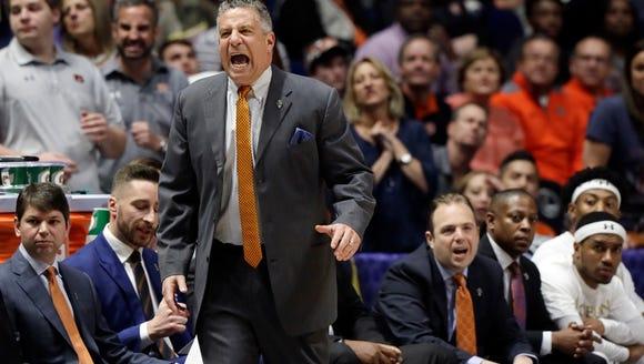 Auburn head coach Bruce Pearl yells to his players