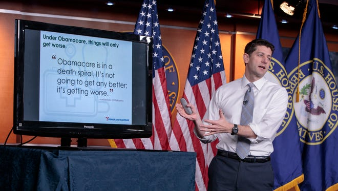 House Speaker Paul Ryan, R-Wis., uses charts and graphs to make his case for the GOP's long-awaited plan to repeal and replace the Affordable Care Act.