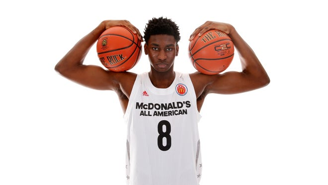 McDonalds High School All-American forward Jaren Jackson Jr. (8) poses for a photo during the 2017 McDonalds All American Game Portrait Day at Chicago Marriott.