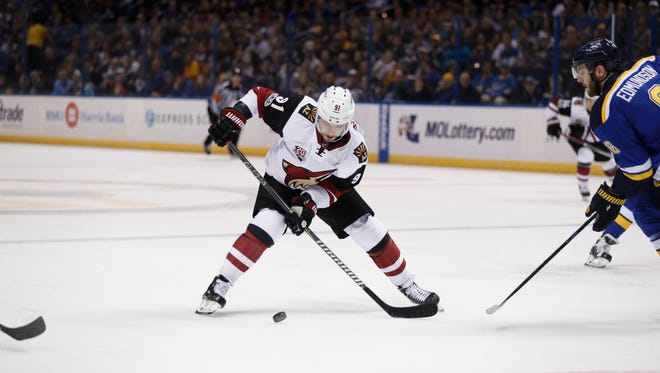 Arizona Coyotes' Alexander Burmistrov, of Russia, handles the puck during the third period of an NHL hockey game against the St. Louis Blues Monday, March 27, 2017, in St. Louis. The Blues won 4-1.