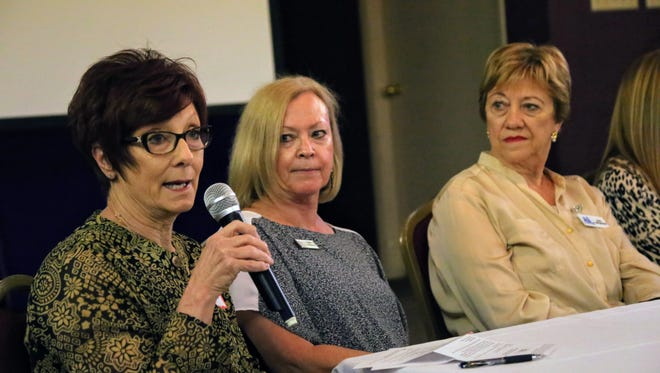 Gay Cunningham, left, chief nursing officer for the Southwest Region of Intermountain Healthcare, spoke Tuesday during a panel discussion at the Southern Utah Community Impact Summit as Pam Palermo, president and CEO of the St. George Area Chamber of Commerce, and Gail Neumann, a member of the Assistance League of Southern Utah, look on. The event, which highlights collaborative efforts between nonprofits, governments and businesses, was held at the Dixie Elks Lodge in St. George.